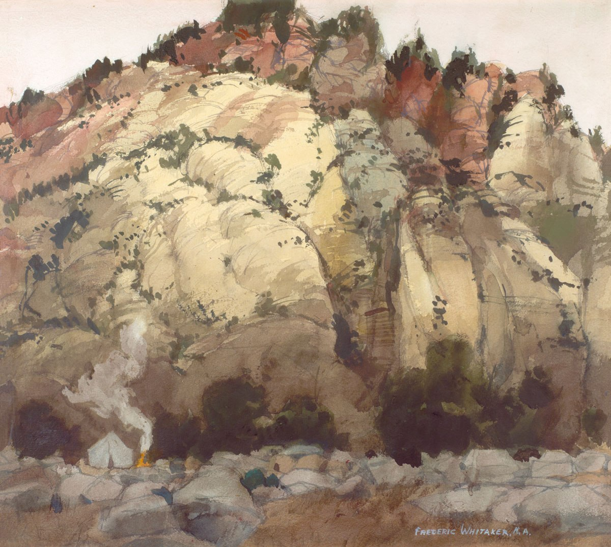 """""""Camping Neath the Campanile"""" 1971 © Frederic Whitaker N.A,  16x22 inches Watercolor"""