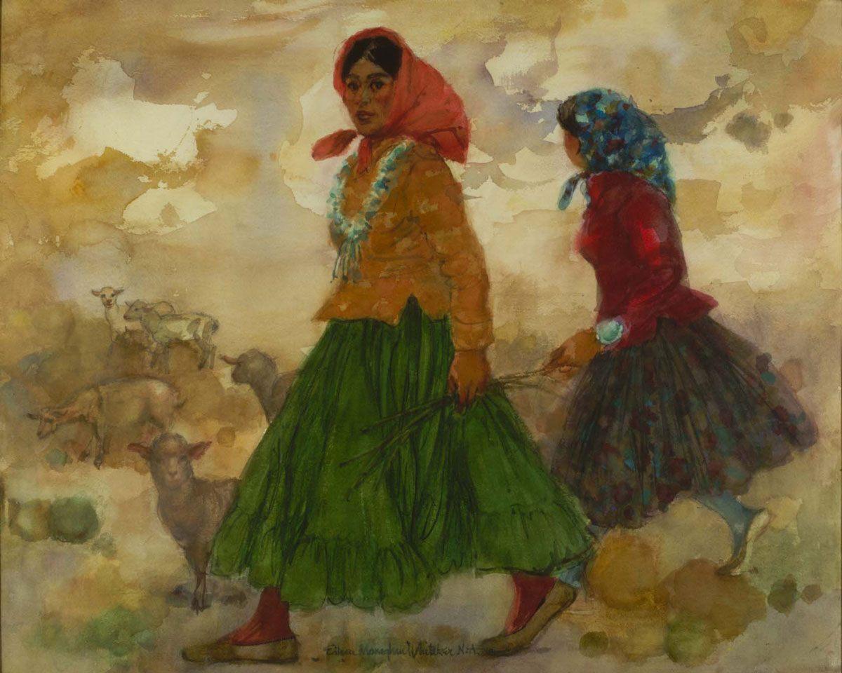 """Adelanta"" 1975 © Eileen Monaghan Whitaker  A.N.A. 14x20 inches Watercolor"