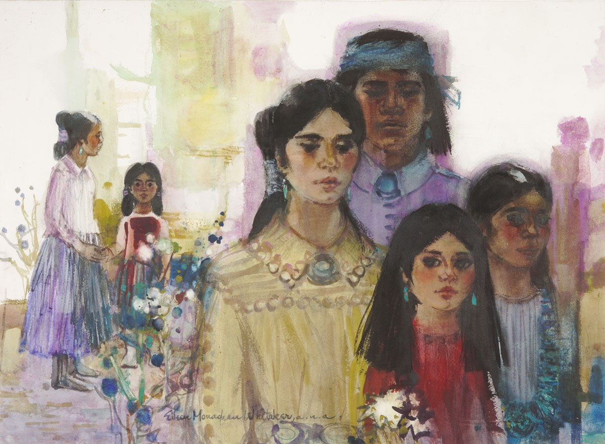 """""""Family Portrait No 2"""" 1970 © Eileen Monaghan Whitaker A.N.A. 22x30 inches Watercolor"""