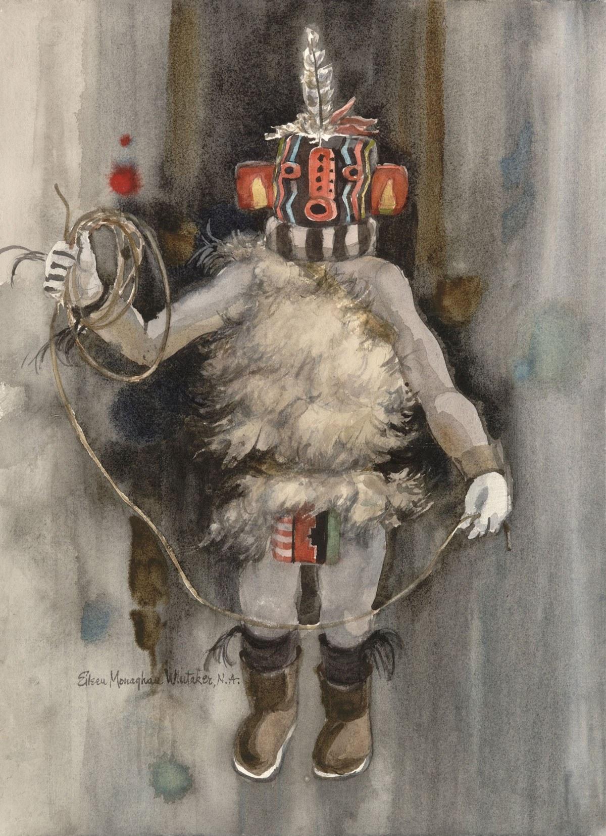 """Kachina Sikya Heheya"" © Eileen Monaghan Whitaker N.A. (size-and-date-unknown) Watercolor"