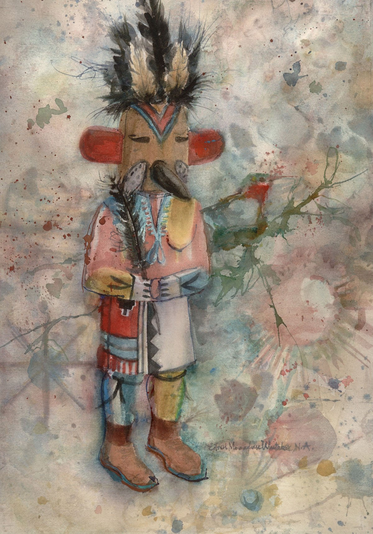 """""""Kachina Tocha"""" © Eileen Monaghan Whitaker (date and size unknown) Watercolor"""