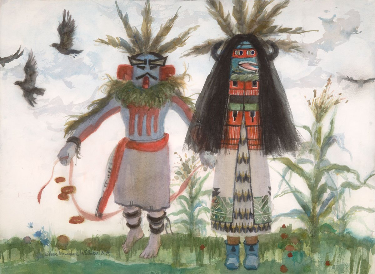 """""""Kachinas in Summertime"""" 1987 © Eileen Monaghan Whitaker N.A. 22x30 inches Watercolor"""