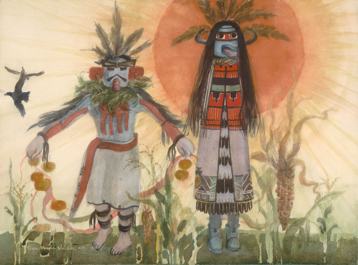 """""""Kachinas in Sunlight"""" 1983 © Eileen Monaghan Whitaker N.A.  22x30 inches Watercolor"""