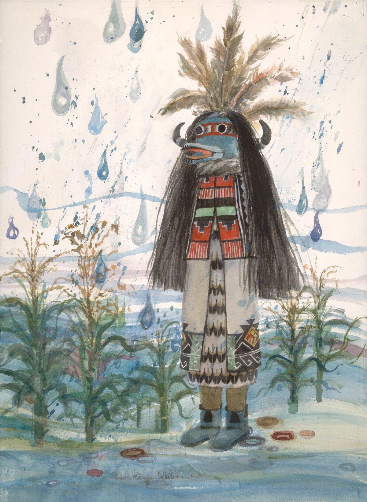 """Kachina Springtime Rain"" 1986 © Eileen Monaghan Whitaker N.A.  30x22 inches Watercolor"