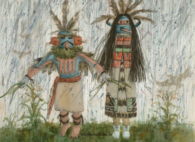 """Kachinas Springtime Rain with Eagle"" 1985 © Eileen Monaghan Whitaker N.A. 22x30 inches Watercolor"