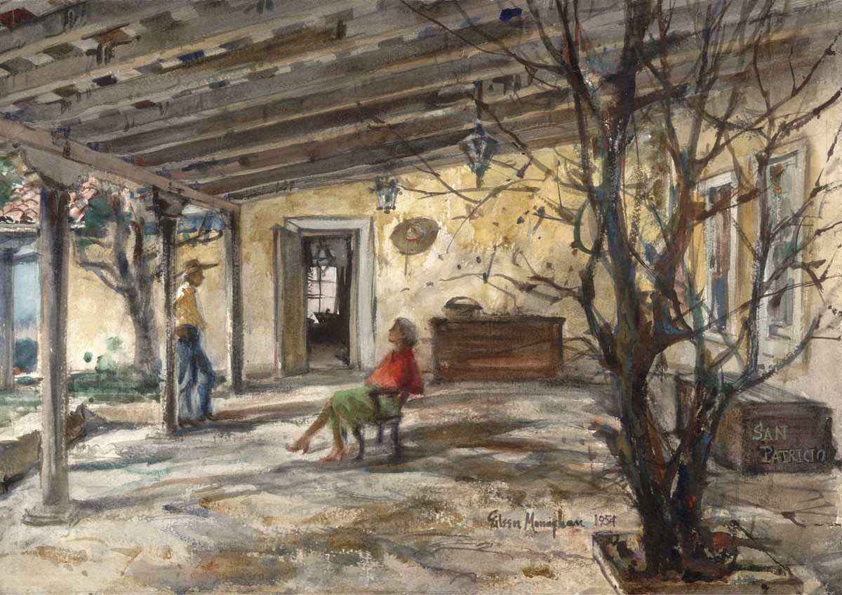 """""""Peter Hurd's Place"""" 1954 © Eileen Monaghan Whitaker 14x20 inches Watercolor"""