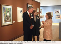 Jayne Atkinson and Chief Curator at the San Diego Museum of Art, D. Scott Atkinson and museum director Mary-Catherine Ferguson (CCA, Escondido)