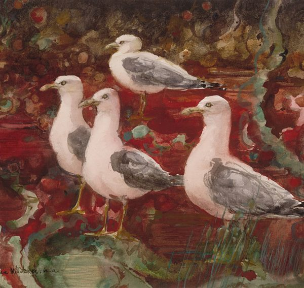 """Seagulls in a Red Tide"" 1981 © Eileen Monaghan Whitaker (size unknown)"