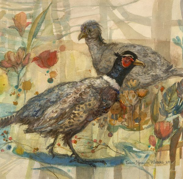 """Pair of Pheasants"" 1982 © Eileen Monaghan Whitaker (size unknown)"