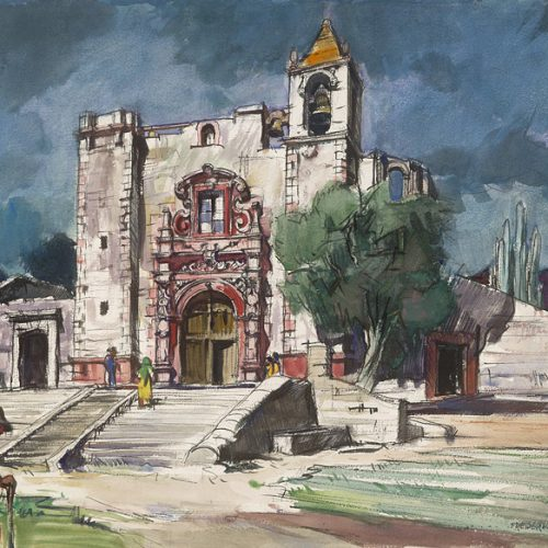 """""""Church of St. Anthony in the Field, San Miguel de Allende"""" (date unknown) © Frederic Whitaker 22x30 inches"""