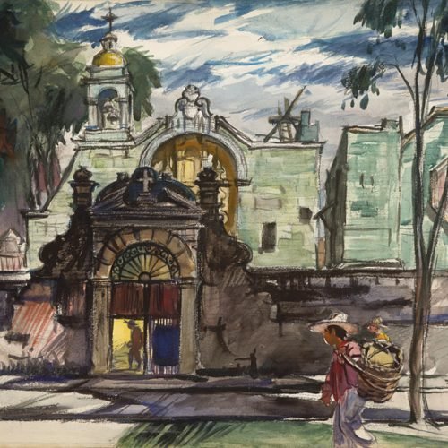 """Church of St. Francis, Oaxaca"" 1949 © Frederic Whitaker 22x30 inches"
