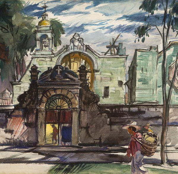 """Church of St. Francis, Oaxaca"" 1949 © Frederic Whitaker 22x30 inches"