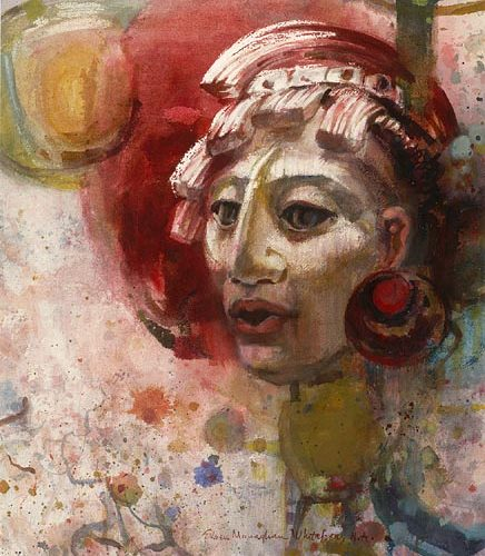 """Mayan Warrior"" 1967 © Eileen Monaghan Whitaker 30 x22 in. watercolor"