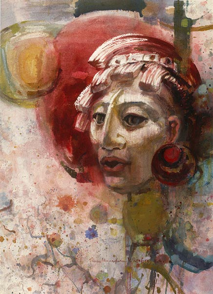 """Mayan Warrior"" 1967 © Eileen Monaghan Whitaker 30 x22 in. watercolor"
