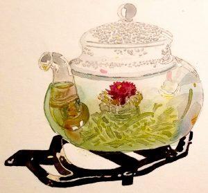 Lauren Taylor Coney watercolor Tea House 2017