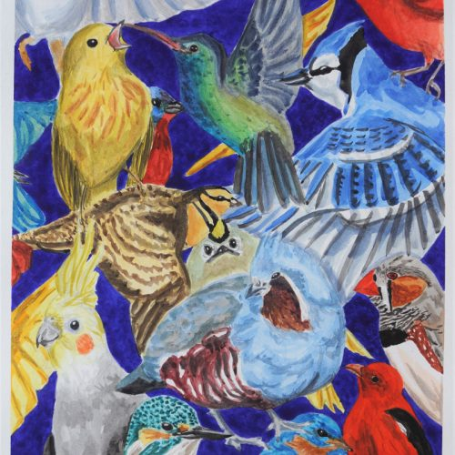 """Full Flock"" 2019 © Bethany Habegger 11x17 Watercolor"