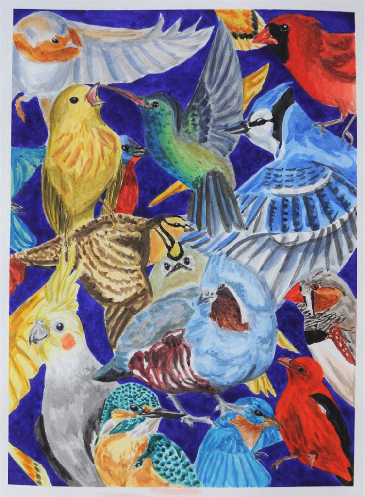 """Full Flock"" 2019 © Bethany Habegger 11x17 Watercolor"