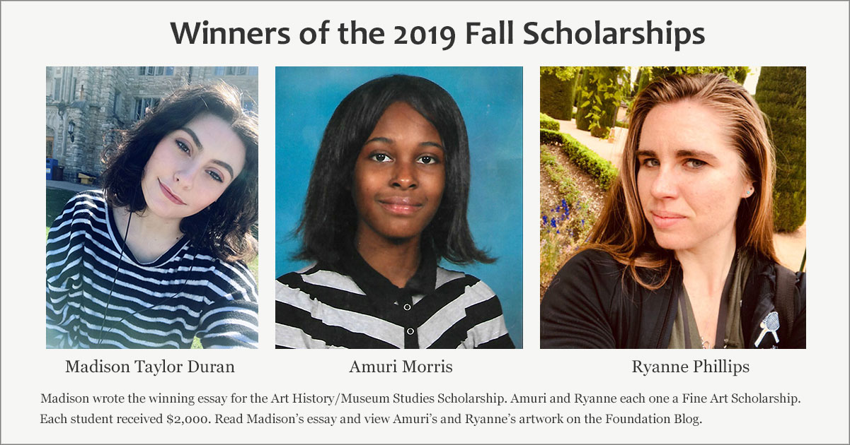 Winners of the Fall 2019 Frederic Whitaker and Eileen Monaghan Whitaker Foundation Scholarships