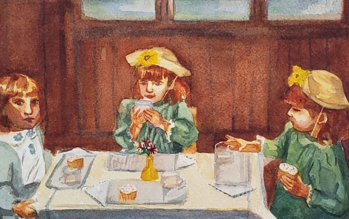 """Tea Party"" 2018 © Paige Feldkamp 6x8 inches Watercolor"