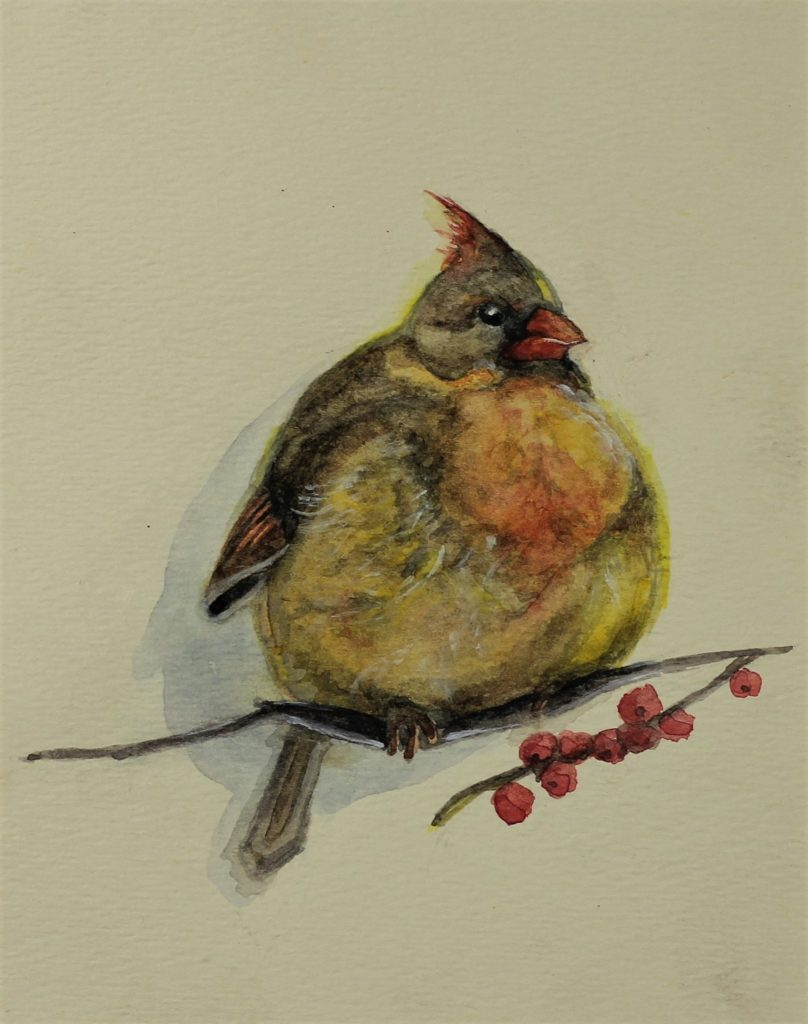 """Little Bird"" 2018 © Diana Kovalchuk 6x4.5 inches Watercolor"