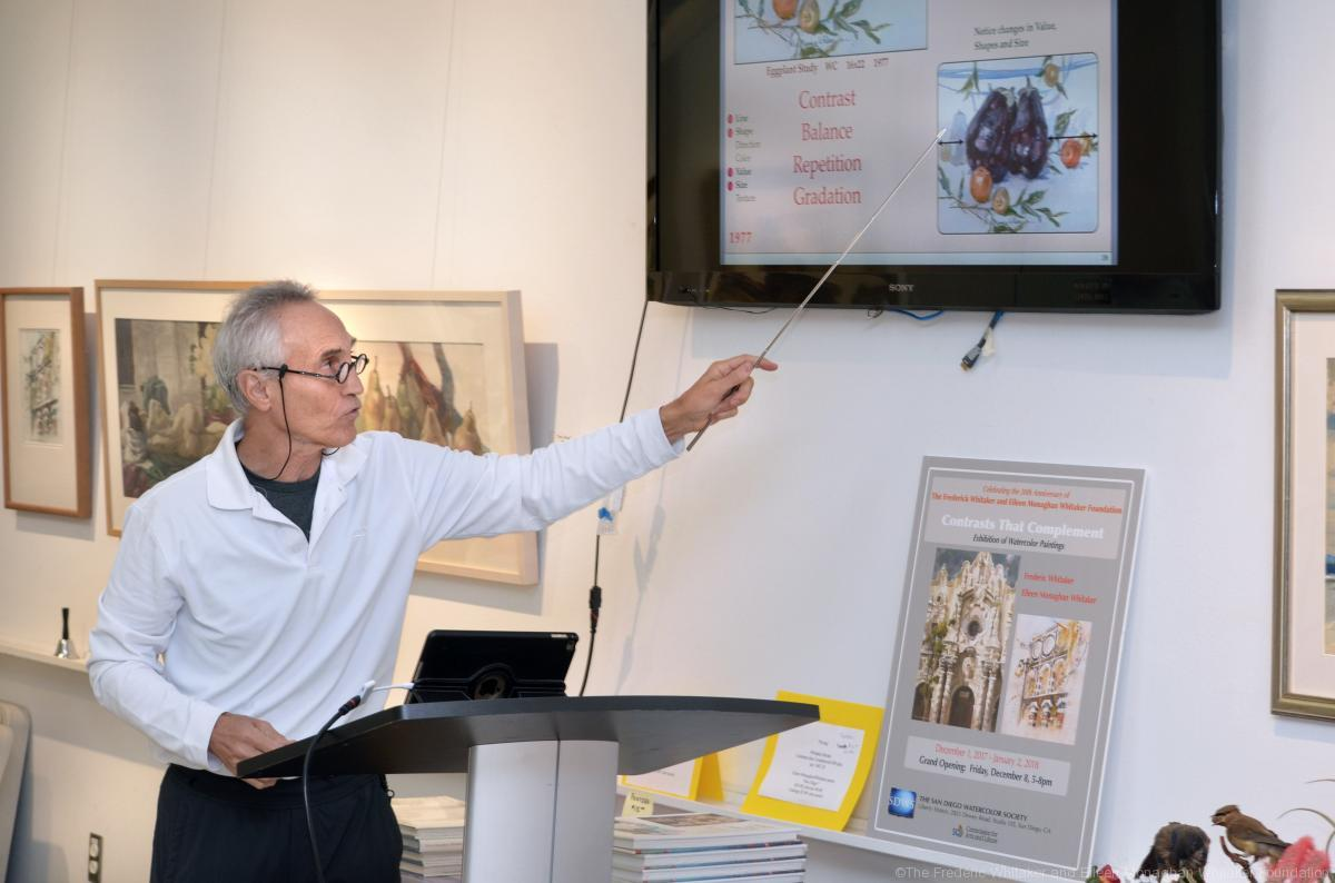 "Ken Goldman gives an introductory presentation to his watercolor workshop, ""Love of Life: Nature and Culture through the Whitakers' Art"" at the San Diego Watercolor Society Gallery. Photo by Ion Moe"